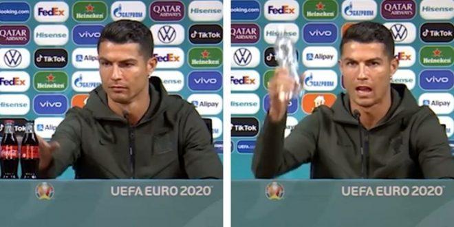 """(ВИДЕО) Роналдо пред прес конференцијата видел """"Кока кола"""" па направил шоу: Неговата реакција е ХИТ!"""